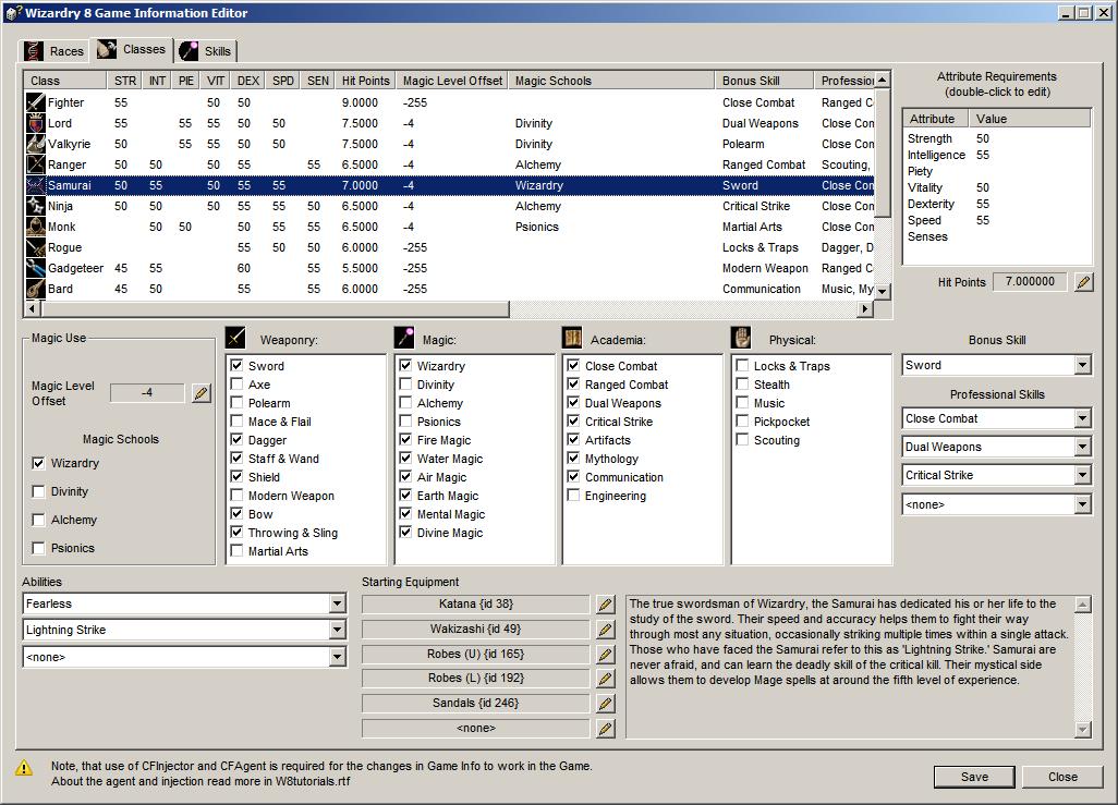 Game Info Editor - Classes